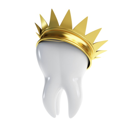 Tooth with tilted golden crown